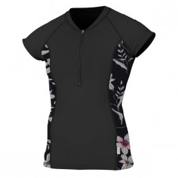 O'Neill WMS SUN SHIRT AVEC ZIP FRONTAL Black Flower